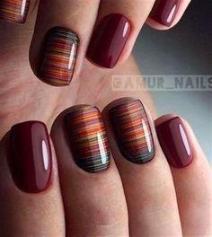 Short nail red design Wedding nail art