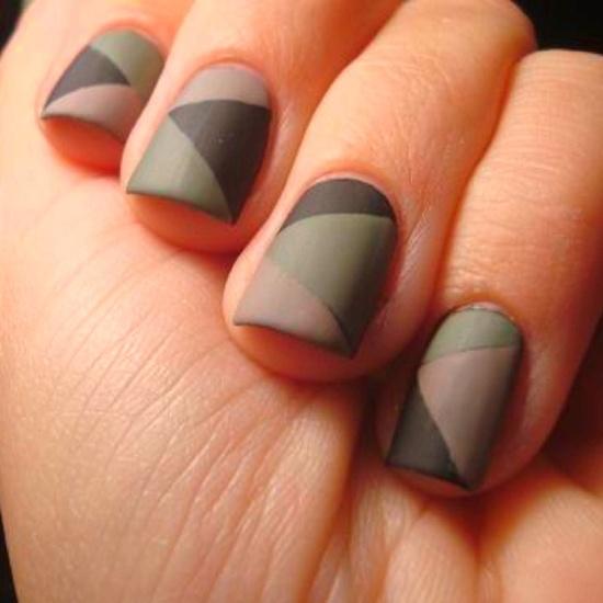 Simple colorful grey green Matte nail art