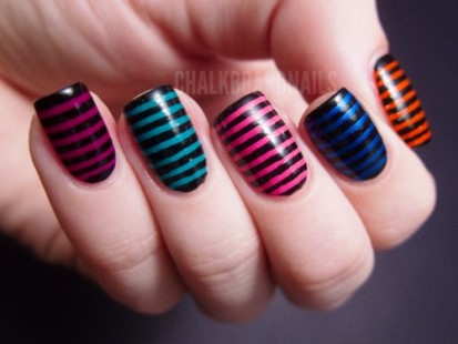 Simple black blue orange pink design Stripe nail art