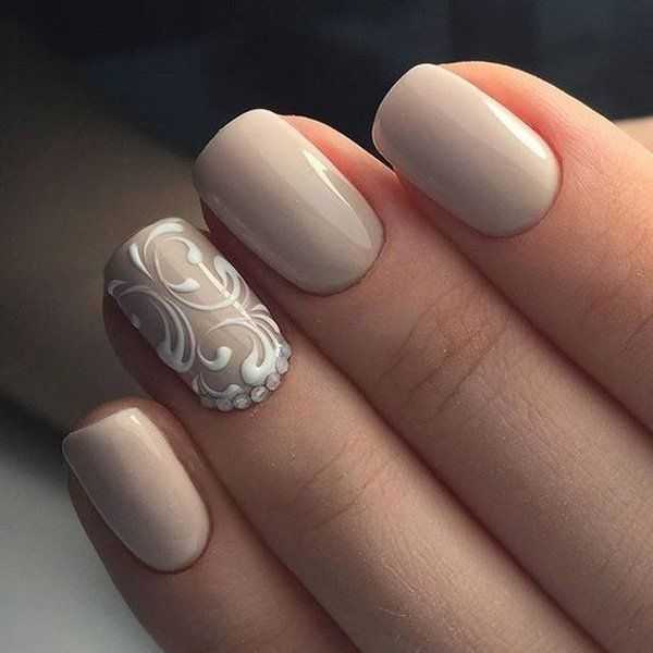 Simple grey with white print Classy nail art