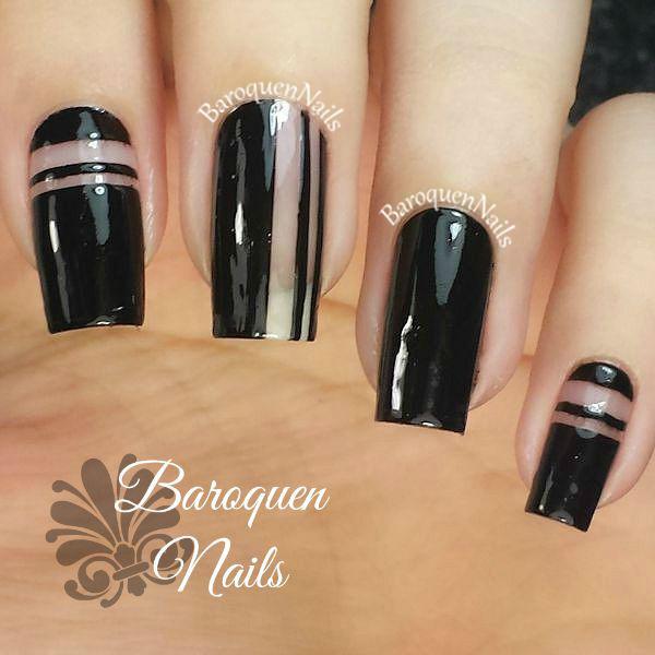 Simple large black Edgy nail art