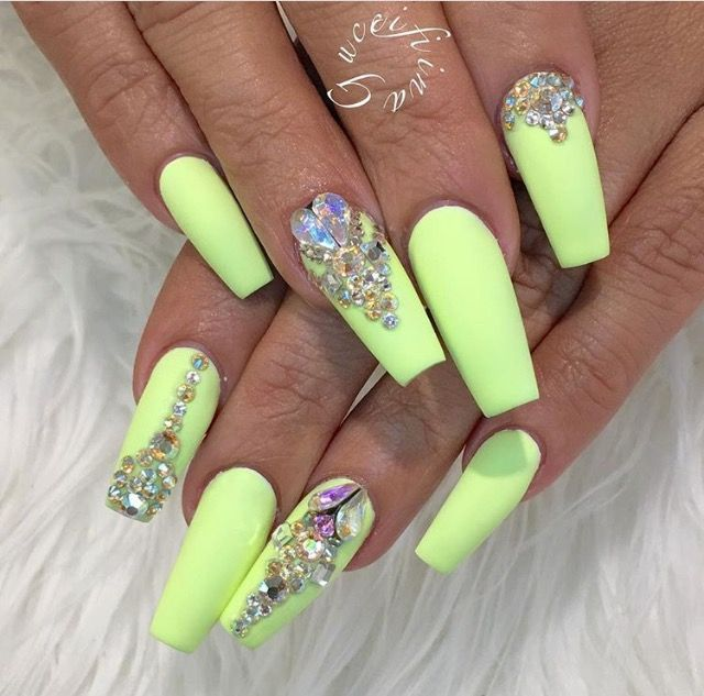 Simple large neon Stones nail art