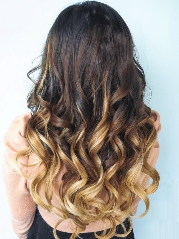 Simple long shaded Curly Hairstyle