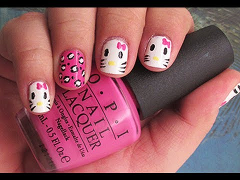 Simple pink cat Hello kitty nail art