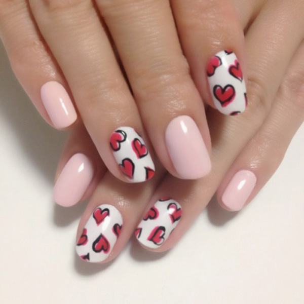 Simple red Heart nail art