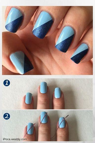 Simple side cut Chevron design nail art