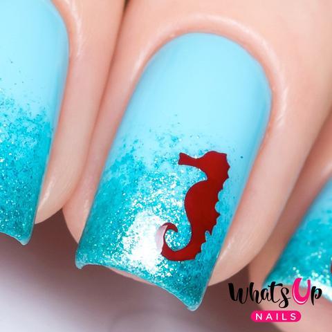 Simple sky blue dragon Animal print nail art