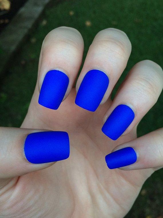 Simple theme blue Matte nail art