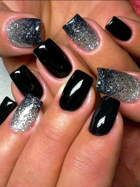 Simple themed black Glitter nail art