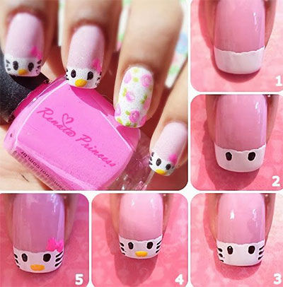 Simple white Hello kitty nail art