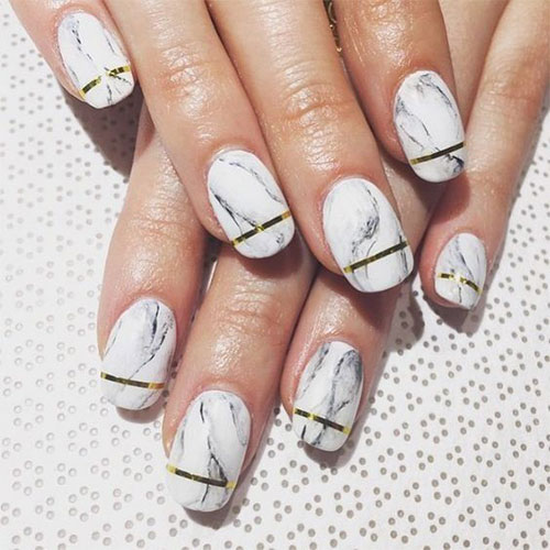 Simple white golden line Marble nail art