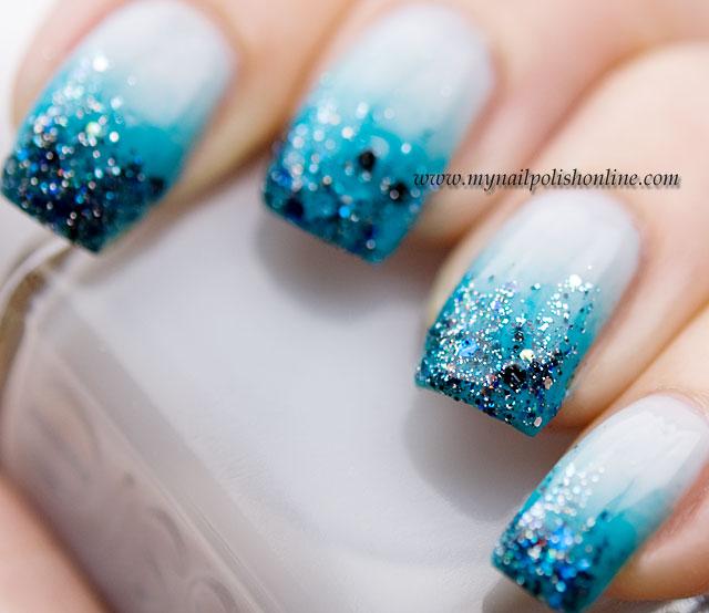Sparkling blue  Glitter nail art