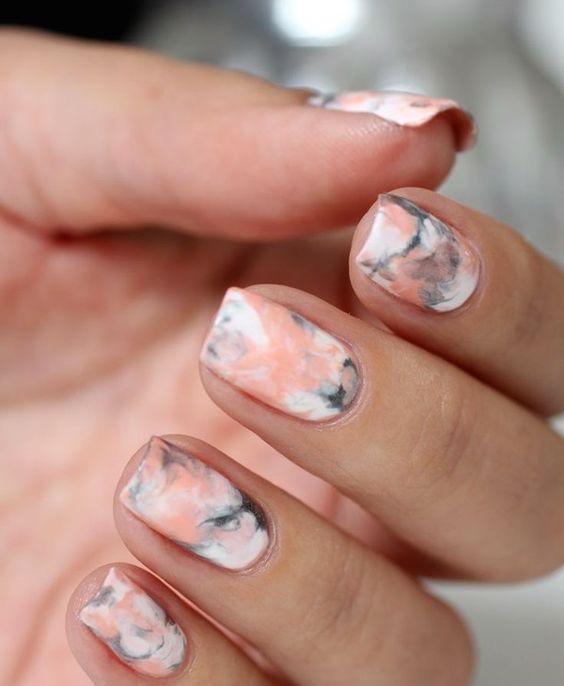 Stunning print Marble nail art