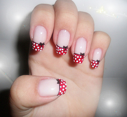 Stunning red dotted Hello kitty nail art