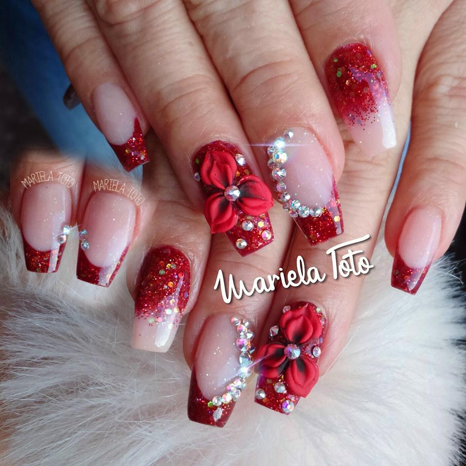 Stunning red glitter Stones nail art