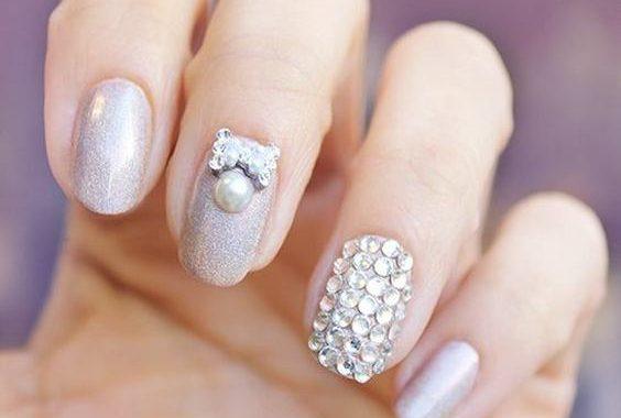 Stunning white glitter Wedding nail art