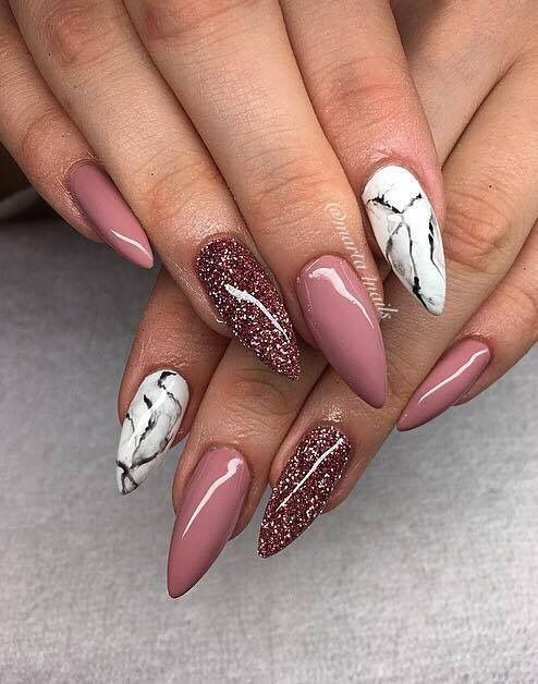 Stunning white marble Glitter nail art