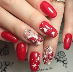 Stylish Red shining Christmas nail art