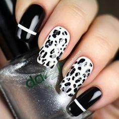 Stylish black Animal print nail art