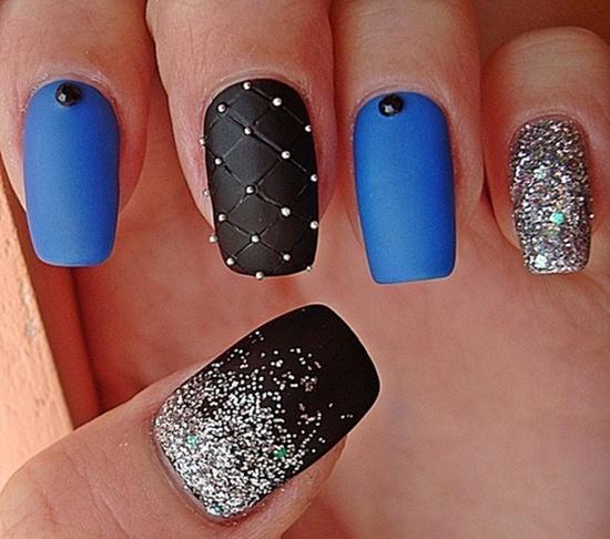 Stylish black & blue glitter Matte nail art