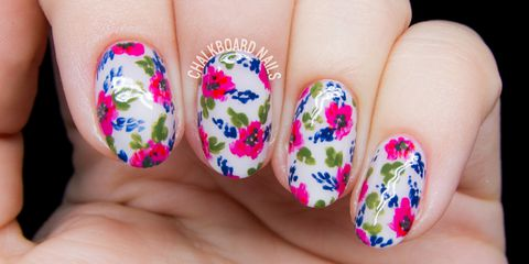 Stylish floral colorful Contrast nail art