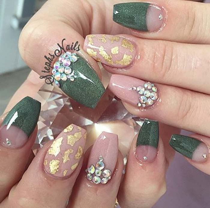 Stylish green golden print Stones nail art