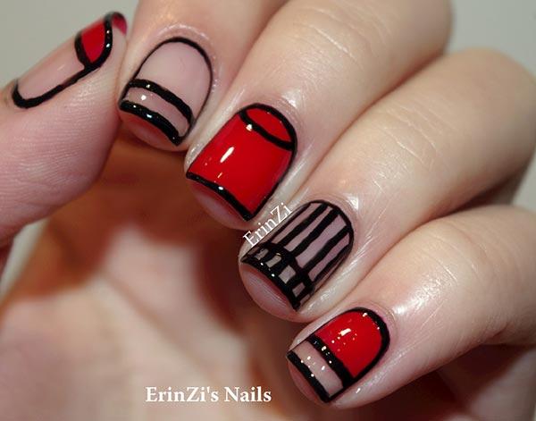 Stylish red & black prom night  Classy nail art