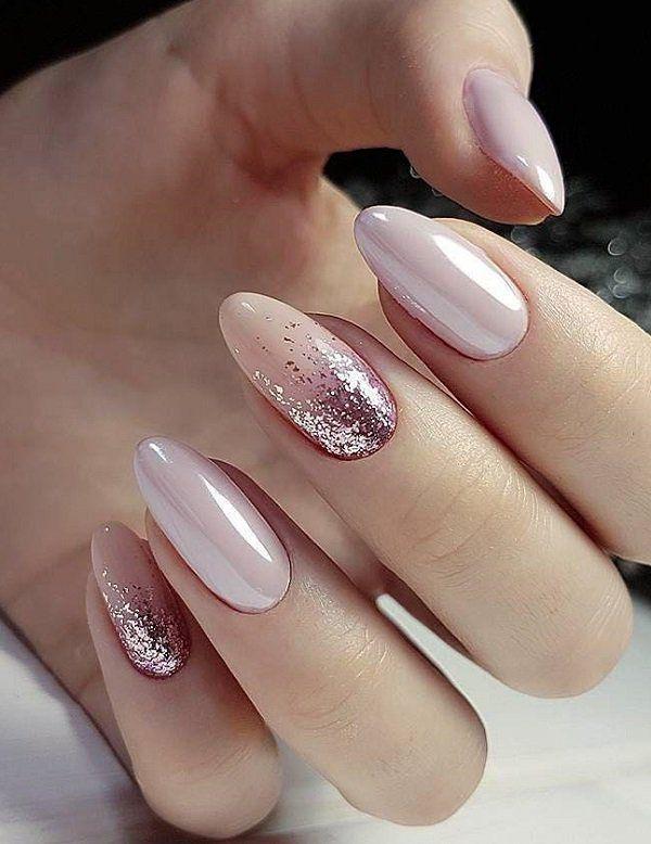 Stylish white golden glitter Wedding nail art