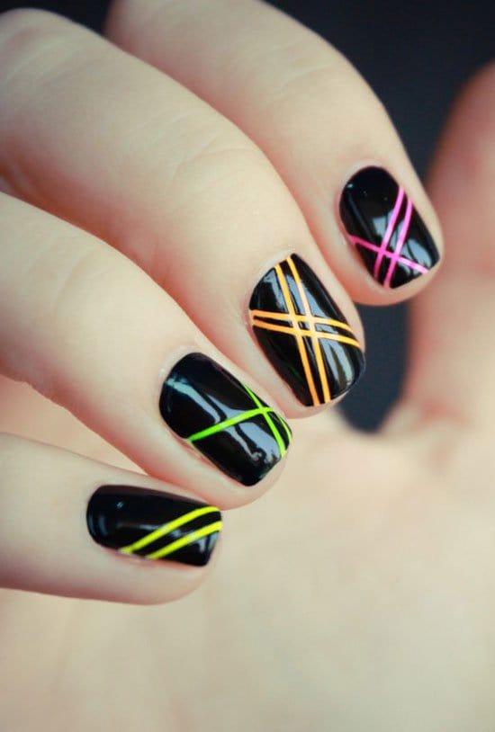 Superb black design Stripe nail art
