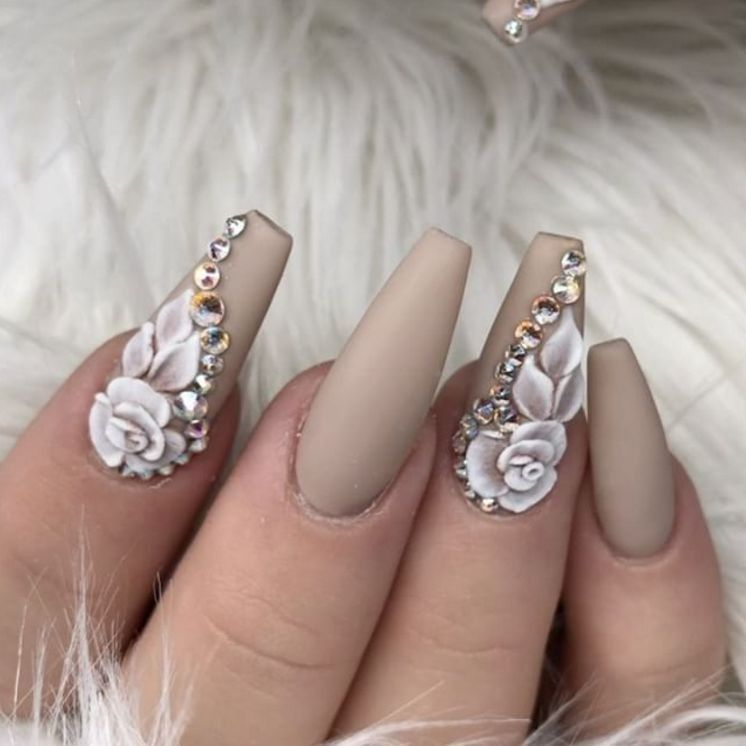 Superb grey flower design Stones nail art