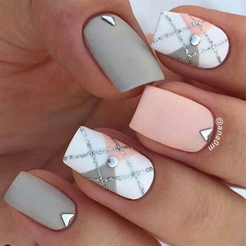 Superb grey white pink matte Marble nail art