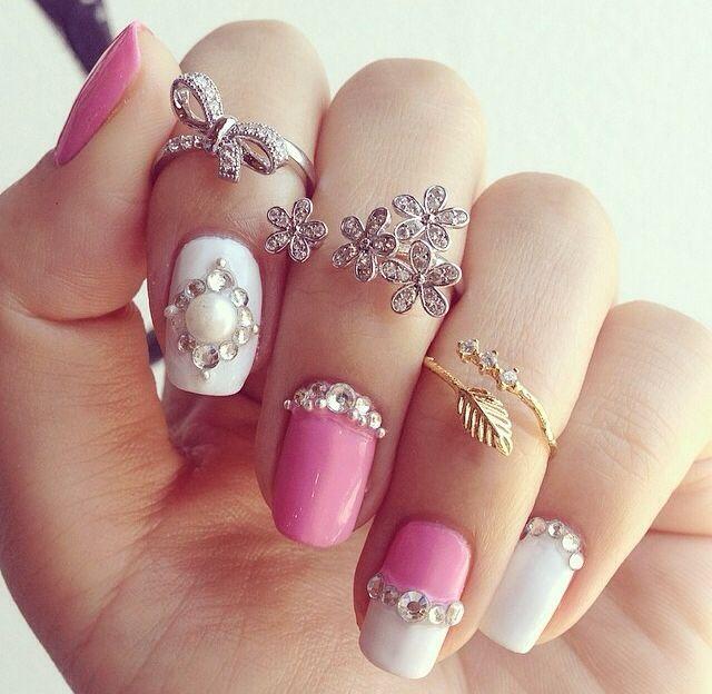 Superb pink white stone design Wedding nail art