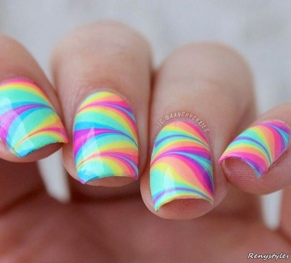 Themed rainbow print Classy nail art