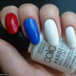 Themed red blue white design Three color nail art