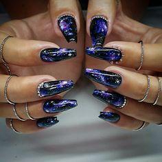 Trending blue galaxy Edgy nail art