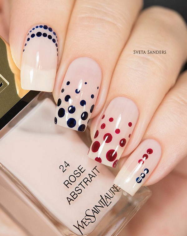 Trending blue red design Polka dots nail art