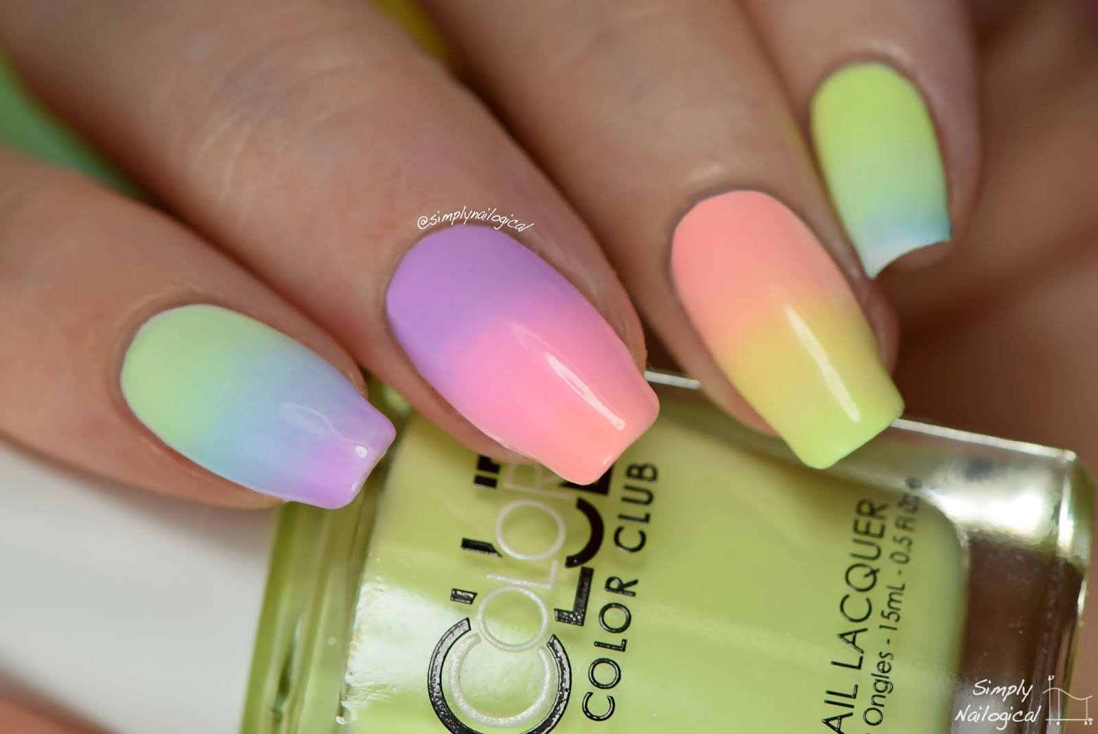 Trending colorful design Ombre nail art