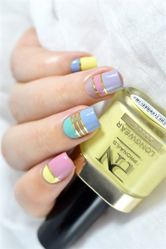 Trending combi Color blocking nail art