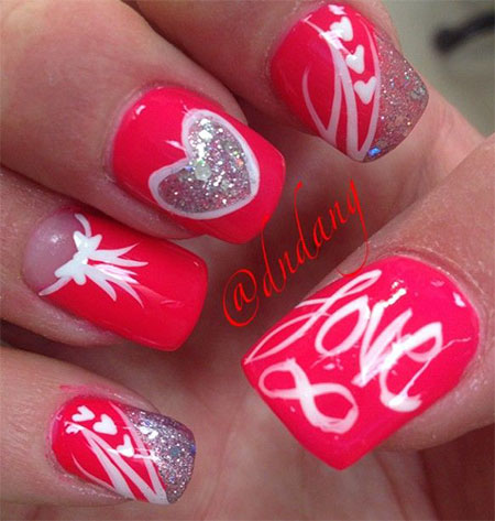 Trending love Heart nail art