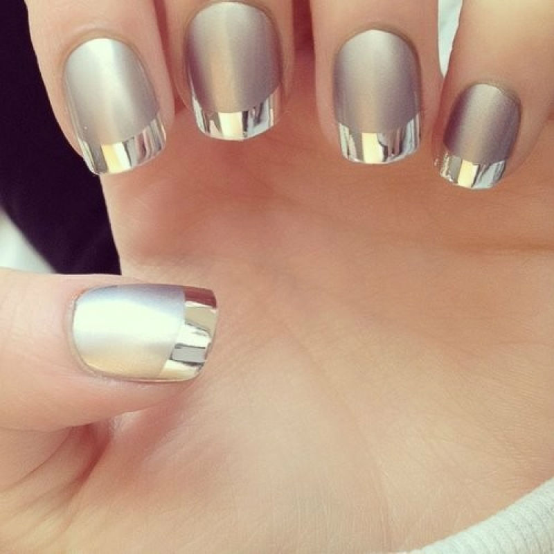 Trending silver Color blocking nail art