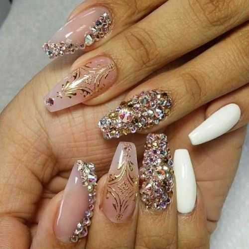 Trending white golden design Stones nail art