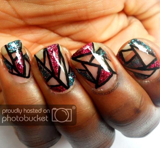Trendy black red design Tiles nail art
