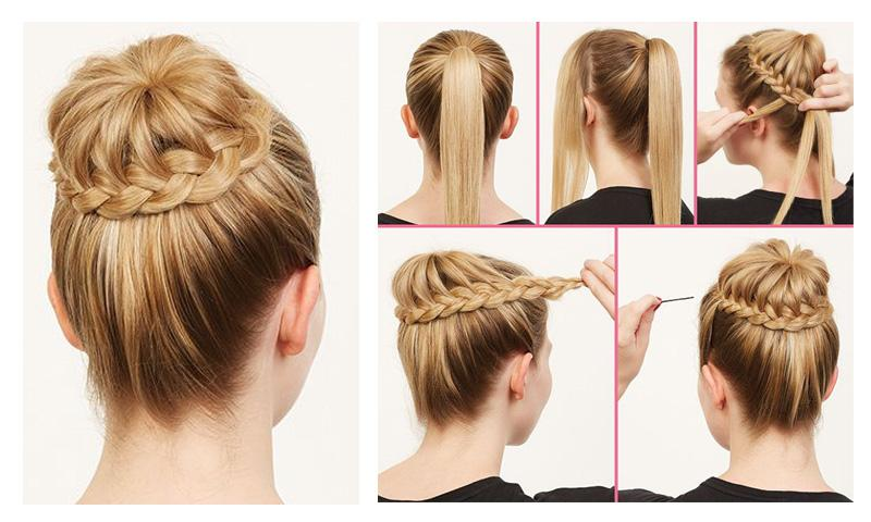 Trendy braid Bun Hairstyle