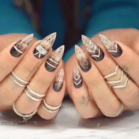 Trendy brown Smokey Edgy nail art