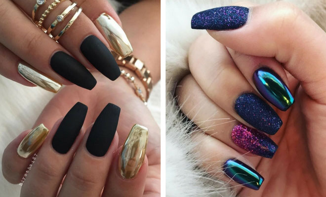 Trendy golden black blue glitter Matte nail art