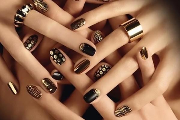 Trendy golden dotted design Wedding nail art