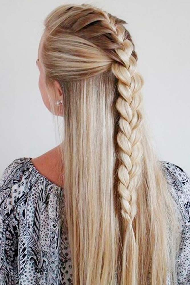 Trendy long hair white brown Braid Hairstyle
