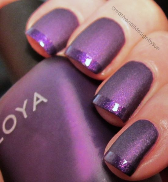 Trendy purple glitter Color blocking nail art