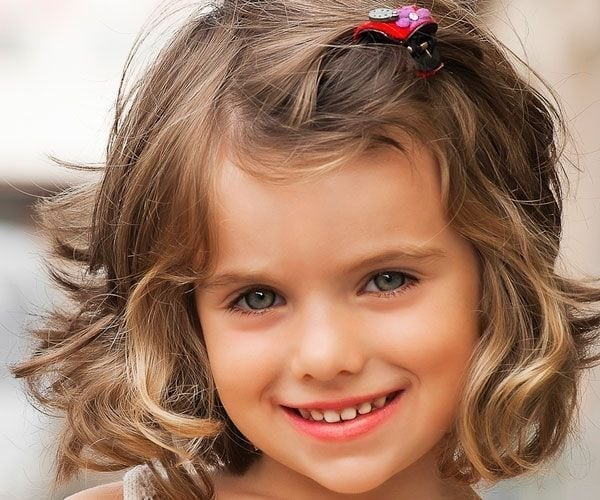 Trendy short hair pinned style Kids Hairstyle