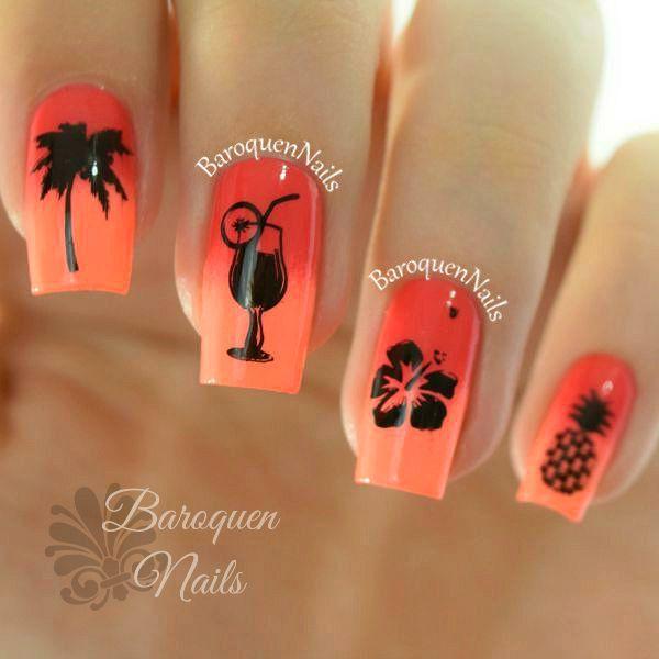 Unique black and peach girlish look design Ombre nail art
